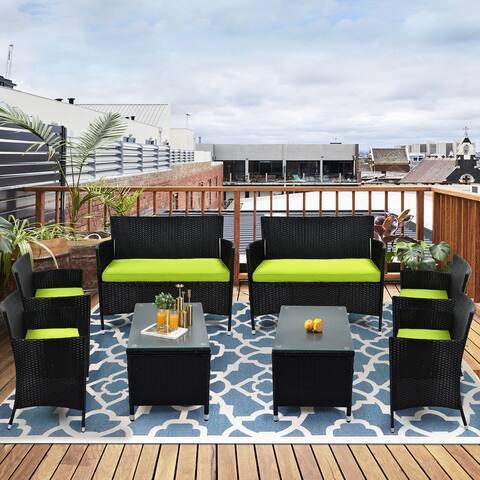 8 PCS Patio Furniture Outdoor Garden Conversation Wicker Sofa Set, Green Cushions +Black Wicker