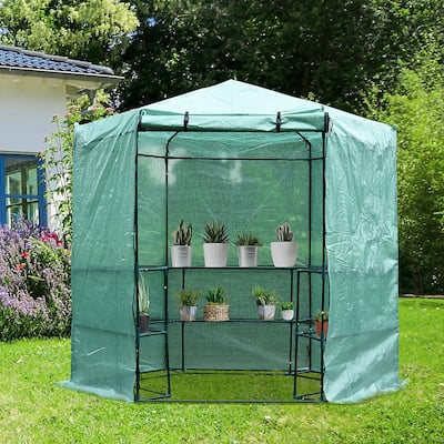 Outsunny 6.5'x7.5' 3-Tier 10 Shelf Outdoor Portable Walk-In Hexagonal Greenhouse Kit with Zippered Doors & PE Covering