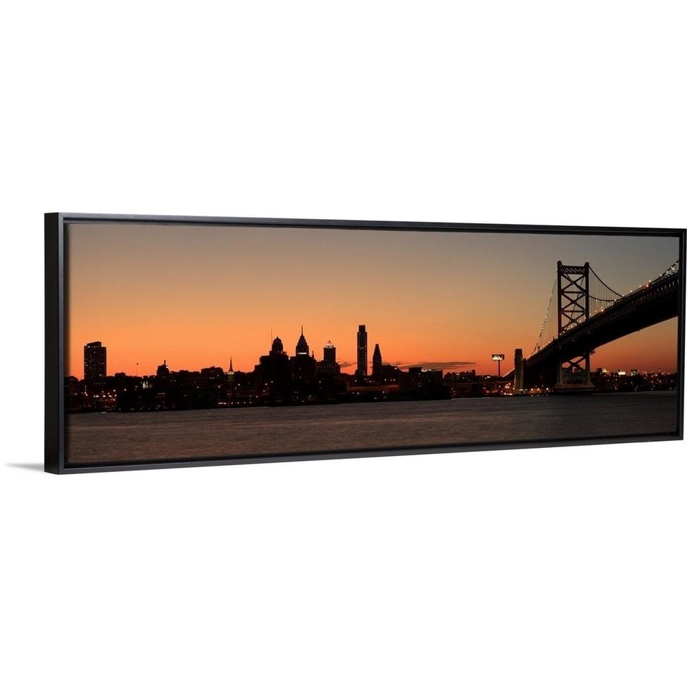 Panorama Of Philadelphia Pennsylvania Along The Delaware River Black Float Frame Canvas Art Overstock 25524879