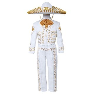 Boys White Gold Embroidered Mariachi Pants Jacket Hat Set