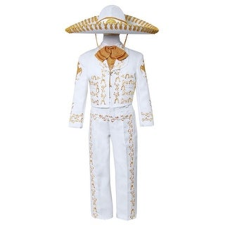 Little Boys White Gold Embroidered Mariachi Pants Jacket Hat Set