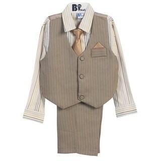 B-One Four Piece Off White Shirt Grey Khaki Boys Vest Set 9M-4T