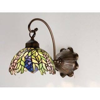 """Meyda Tiffany 18695 Honey Locust 8"""" Wide Single Light Wall Sconce with Stained Glass Shade"""