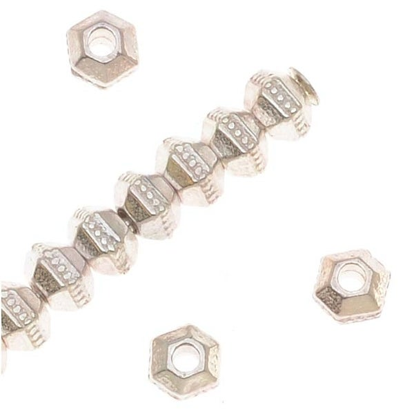 TierraCast Fine Silver Plated Pewter Hexagon Rondelle Beads 3mm (50)