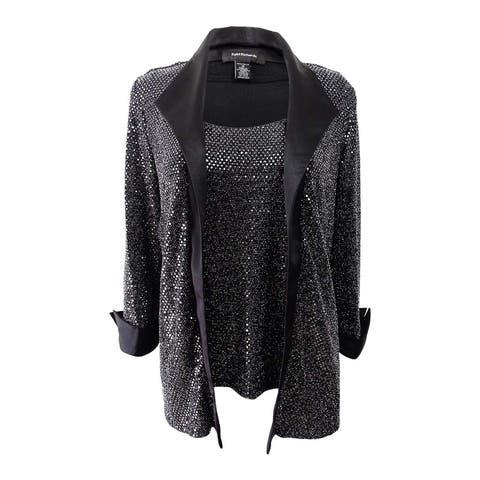 R&M Richards Women's Metallic Layered-Look Top - Silver/Black
