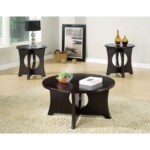 Monarch Specialties 3 Piece Round Occasional Table Set II 3 Piece Table Set  With Round Coffee