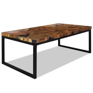 "vidaXL Coffee Table Teak Resin 43.3""x23.6""x15.7"""