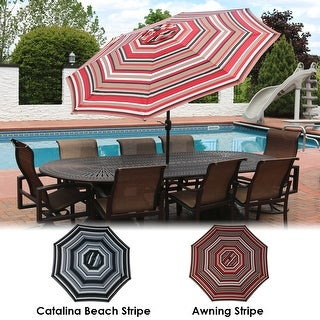 Sunnydaze 9-Foot Aluminum Patio Umbrella with Push Button Tilt & Crank