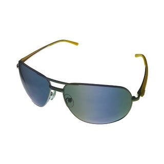Umbro Sunglass Mens Silver, Solid Smoke Lens Metal Sport Aviator GS08 - Medium