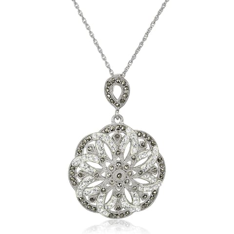 """Crystaluxe Flower Pendant with Marcasite & Swarovski Crystals in Sterling Silver, 18"""" - White"""