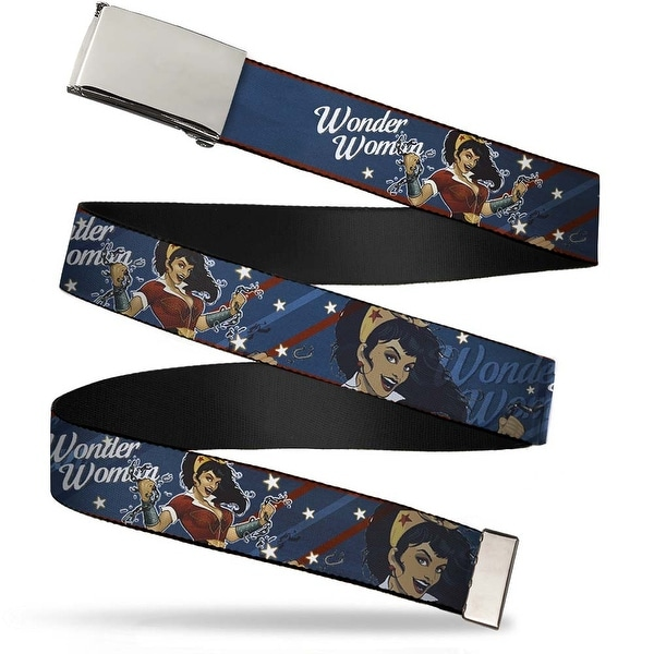 Blank Chrome Buckle Wonder Woman Bombshell Pose Blue Red White Webbing Web Belt