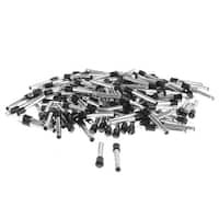 2mm x 0.6mm DC Power Jack Male Plug Connector Adapter Black Silver Tone 150pcs