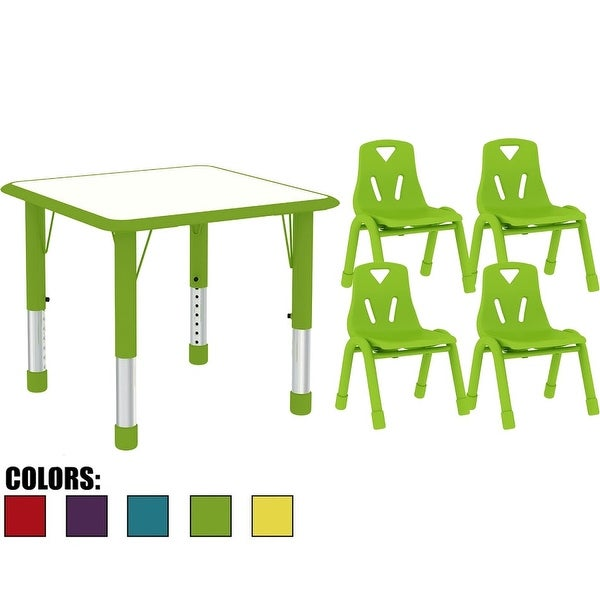 2xhome   Kids Table And Chairs Set Height Adjustable Rectangle Activity  Table Preschool Table Childs Bright