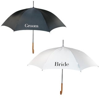 ShedRain Bride and Groom Wedding Stick Umbrellas with Hook Handle (2 Pack) - bride and groom - One Size