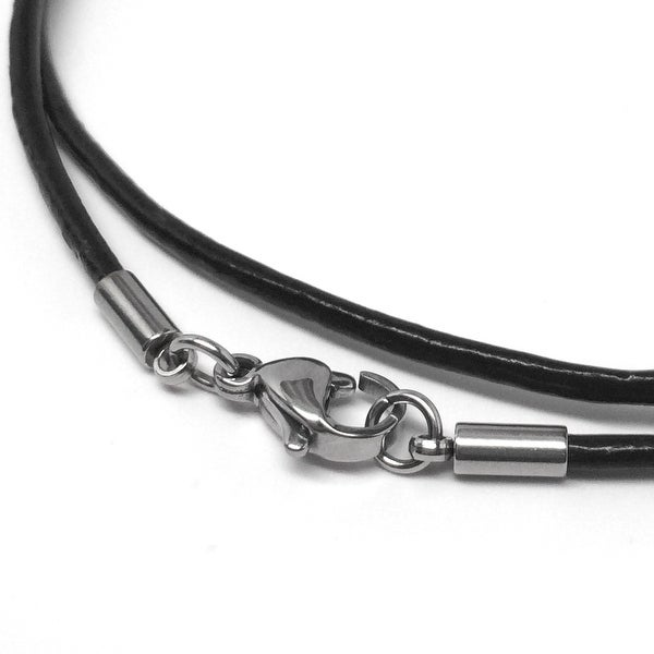 Loralyn Designs Black Leather Necklace Cord (2mm) with Stainless Steel Clasps