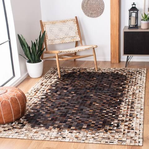 SAFAVIEH Handmade Studio Leather Velinka Natural Hide Leather Rug