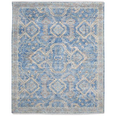 One of a Kind Hand-Knotted Persian 8' x 10' Oriental Wool Blue Rug - 8' x 10'