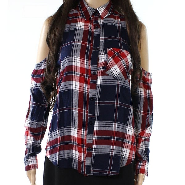b1a4f6cef Shop Abound Black Womens Size XXS Cold-Shoulder Plaid Button Down Shirt -  Free Shipping On Orders Over $45 - Overstock.com - 22020241