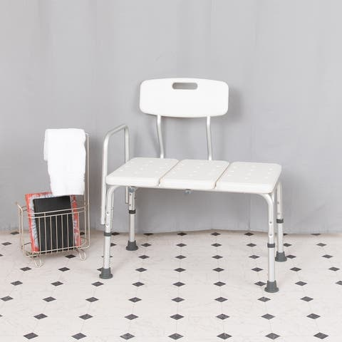 300 Lb. Capacity Adjustable White Bath & Shower Medical Transfer Bench
