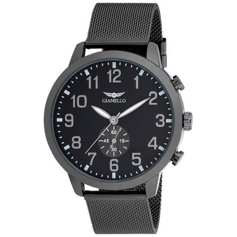 Gianello Mens Mesh Large 48mm Round Watch