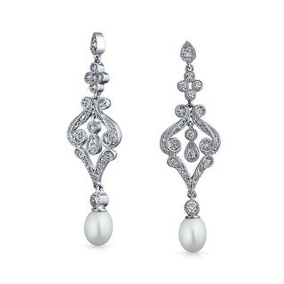 Bling Jewelry CZ Freshwater Cultured Pearl Chandelier Earrings Rhodium Plated Brass