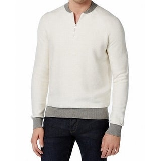 Tommy Hilfiger NEW White Mens Size Medium M 1/2 Zip Contrast Sweater