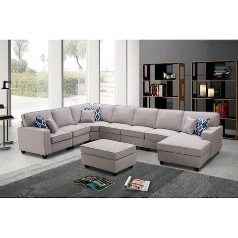 Irma 8-piece Light Grey Linen Modular Sectional Sofa Set