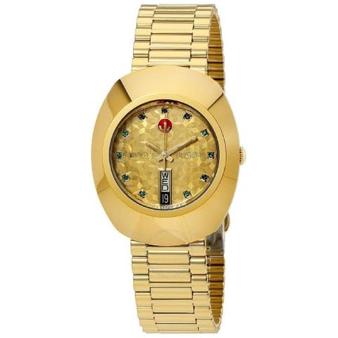 Rado Men's R12413663 'Original L' Diamond Automatic Gold-Tone Stainless Steel Watch
