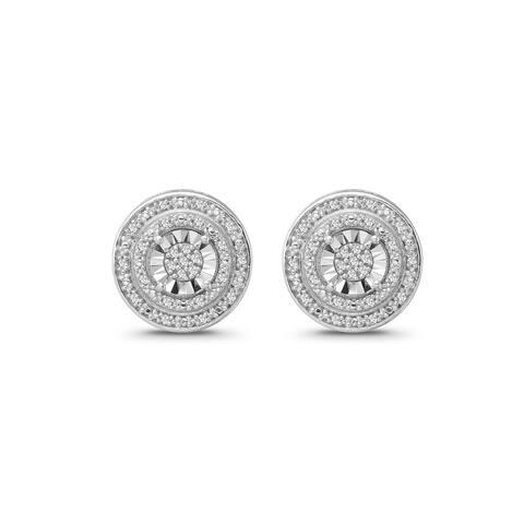 925 Sterling Silver 1/8 Carat Diamond Halo Stud Earrings for Women