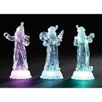 "7.5"" Icy Crystal Battery Operated LED Lighted Santa Claus with List Christmas Table Top Figure - CLEAR"