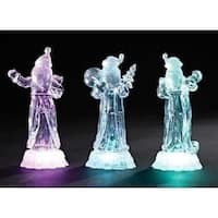 "7.75"" Icy Crystal Battery Operated LED Lighted Santa Claus with Gift Christmas Table Top Figure"