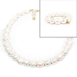 "Julieta Jewelry - 14k Over Sterling Silver 12mm Freshwater Pearl 'Grace' Set 16"" Necklace & 7"" Stretch Bracelet"