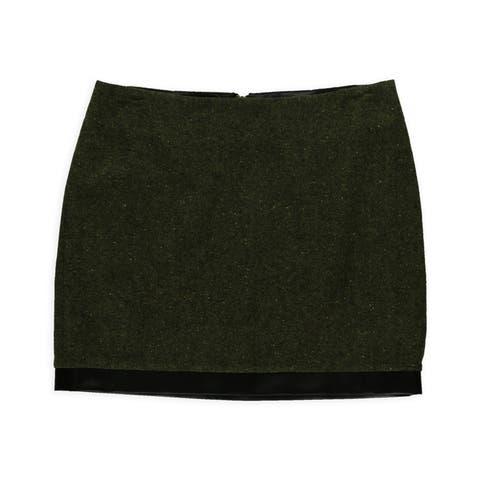 Kensie Womens Tweed Mini Skirt, Green, 10