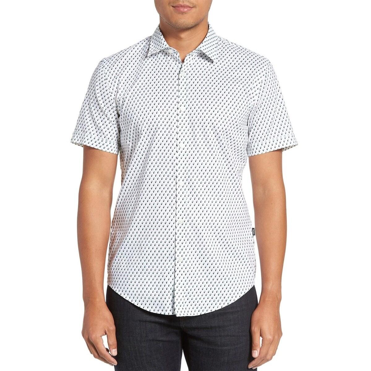 Hugo Boss Button Down Shirt Ronn Printed Cotton Slim Fit Size Xl Short Sleeves