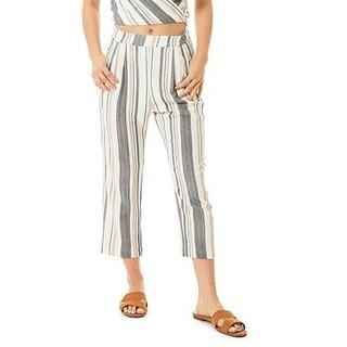 Dee Elle White Women's Size Medium M Striped Cropped Stretch Pants