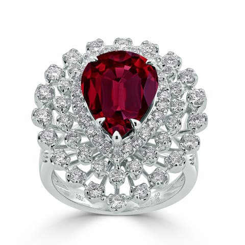 Auriya 7 1/6ct Pear-cut Red Ruby and Halo Diamond Ring 1 1/2cttw 18K Gold