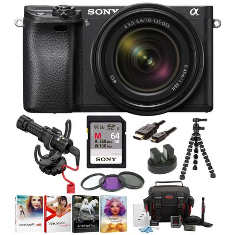 Sony a6300 Mirrorless Camera w/ 18-135mm Lens & On-Camera Mic Bundle