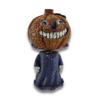 Girl Pumpkin Bobble Head Figurine Halloween Decor
