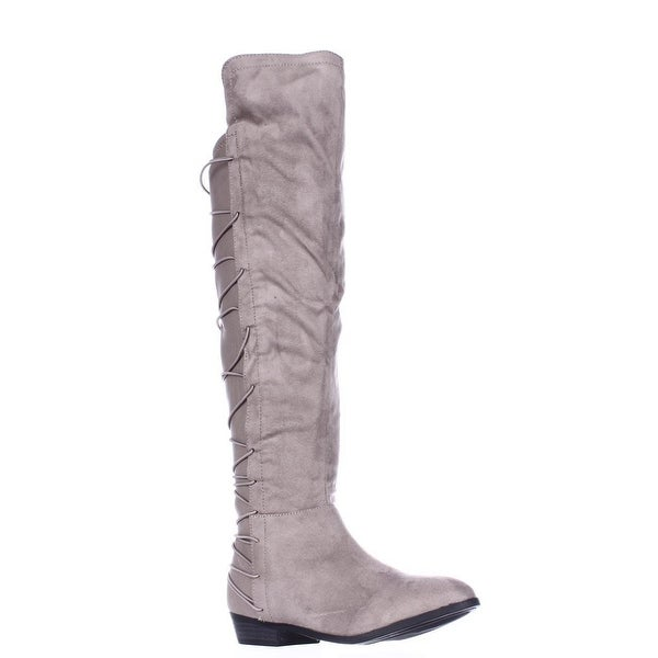 MG35 Cayln Over-the-Knee Strappy Boots, Grey