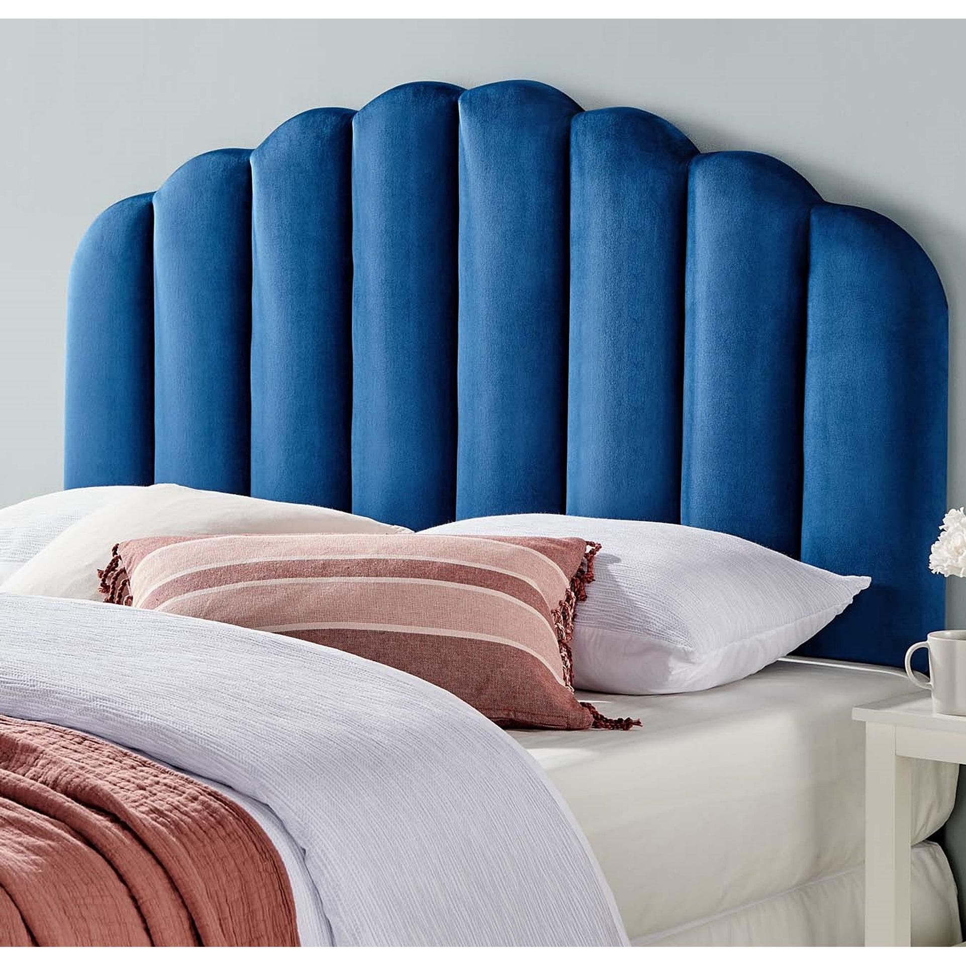 Picture of: Shop Burney Scalloped Blue Velvet Upholstered King California King Size Headboard Overstock 31684695
