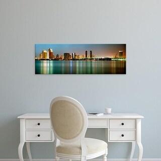 Easy Art Prints Panoramic Images's 'City skyline at night, San Diego, California, USA' Premium Canvas Art