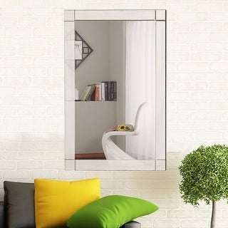 costway wall mirror rectangle vanity bathroom home furniture decor mdf frame