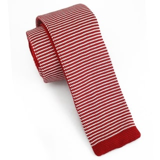"Men's 2"" Knit Stripped Red Tie"