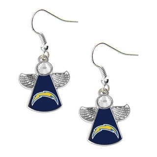 SAN Diego Chargers NFL Crystal Angel Wings Dangle logo Earring Charm Gift Set