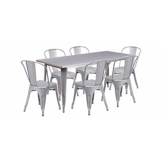 "Offex 31.5"" x 63"" Rectangular Silver Metal Indoor Table Set with 6 Stack Chairs [OF-ET-CT005-6-30-SIL-GG]"