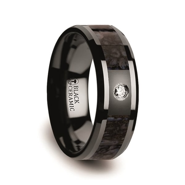 Blue Dinosaur Bone Inlaid Black Ceramic Diamond Wedding Band with Beveled Edges 8mm