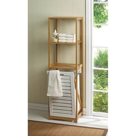 light walnut wood spa bath tower with builtin hamper  free, Home decor