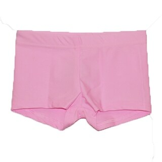Girls Pink Solid Color Stretchy Dancewear Booty Shorts