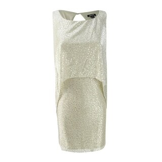 SL Fashions Women's Metallic Mesh Popover Dress - Light gold (More options available)