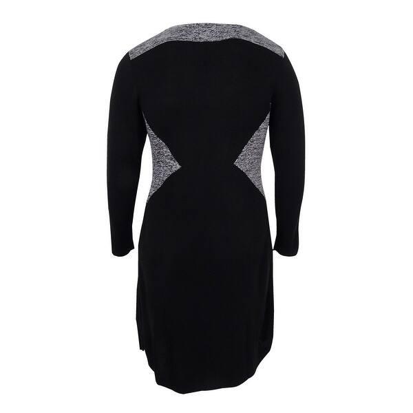 Calvin Klein Women\'s Plus Size Colorblock V-Neck Sweater Dress - Black - 0X